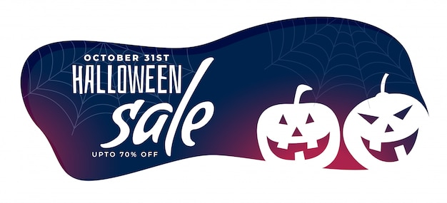 Stylish halloween sale banner with spooky pumpkins Free Vector