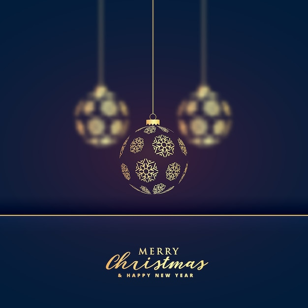 stylish hanging golden christmas balls premium background Premium Vector