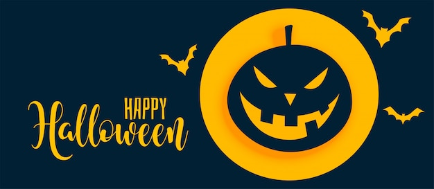 Stylish happy halloween banner with pumpkin and ghost Free Vector