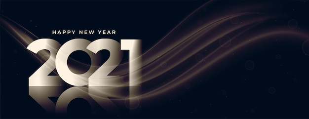 Stylish happy new year 2021 glossy banner design Free Vector