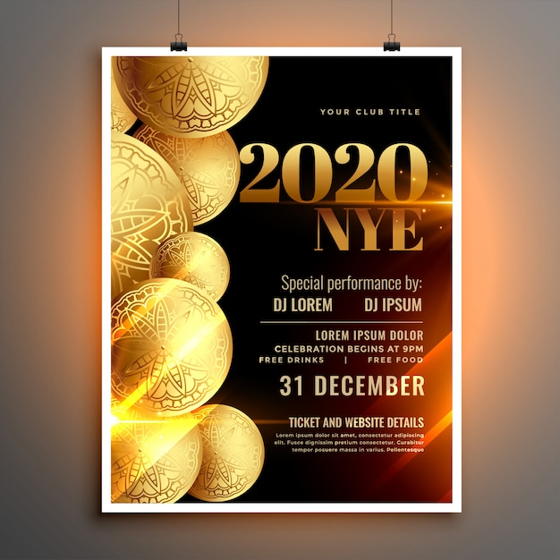 Stylish happy new year celebration flyer or poster  template Free Vector