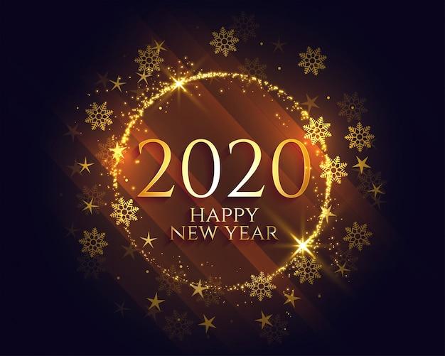 Stylish happy new year golden sparkles light Free Vector