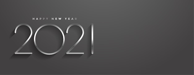 Stylish  happy new year minimal style banner Free Vector