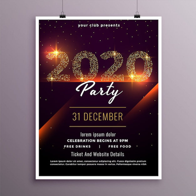 Stylish happy new year party flyer template Free Vector