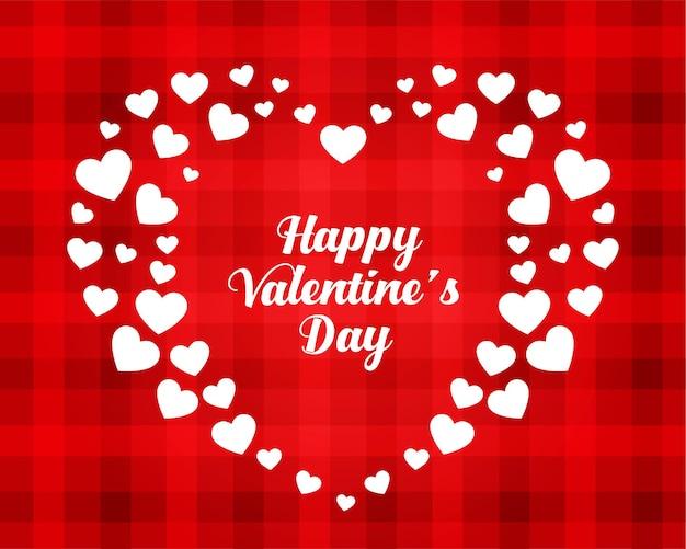 Elegante carta di cuori di san valentino felice Vettore gratuito
