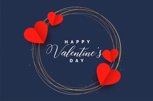 Stylish hearts frame valentines day card design Free Vector