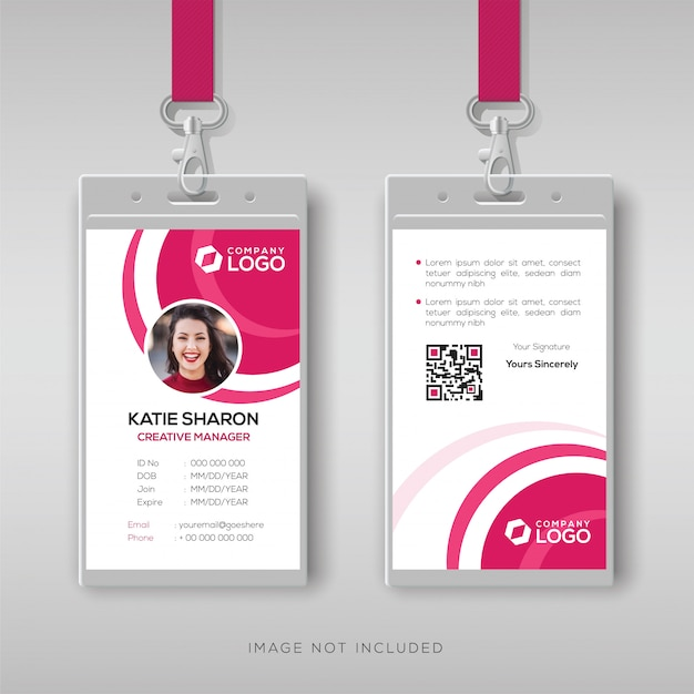 Stylish id card template with pink details Premium Vector