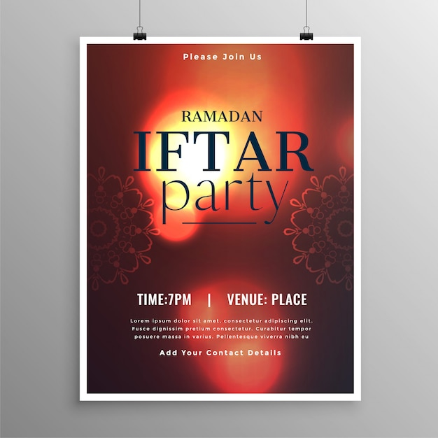 Stylish iftar party invitation template Free Vector