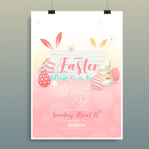 Stylish invitation card design with illustration of colorful egg Premium Vector