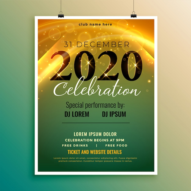 Stylish invitation flyer or poster for new year eve Free Vector