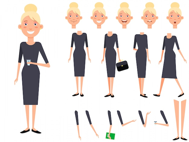 Stylish lady character set with different poses, emotions Free Vector