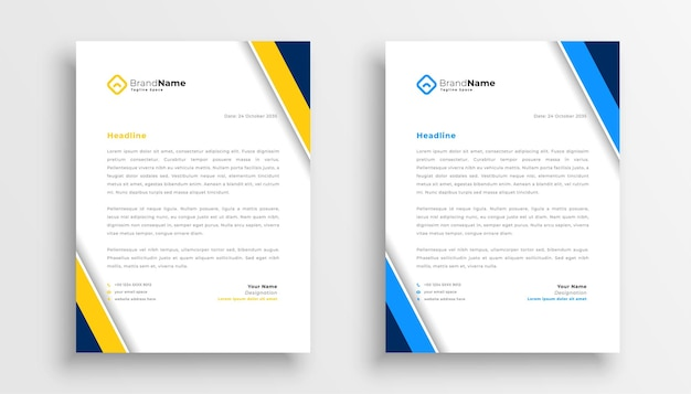 Stylish letterhead yellow and blue theme design for your business Free Vector