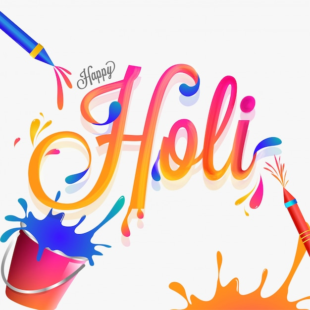 Stylish lettering of holi with festival equipments on white colo Premium Vector