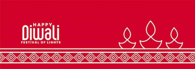 Stylish line style diya lamp red diwali banner Free Vector