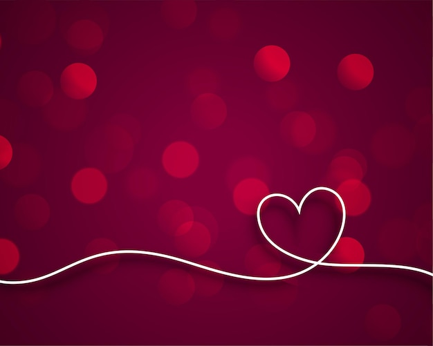 Stylish line valentines heart on bokeh background Free Vector