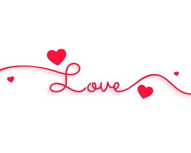 Stylish love text for valentines day with hearts Free Vector