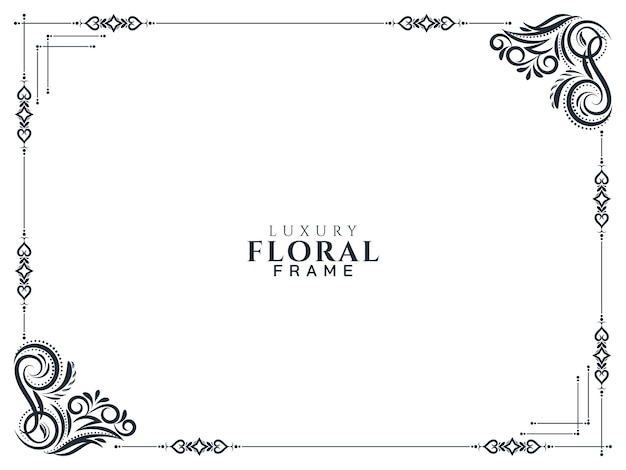 Stylish luxury floral frame design background Free Vector