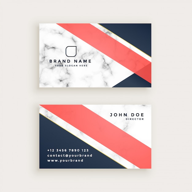 Stylish marble texture business card design Free Vector