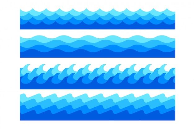 다른 모양 세트에 세련 된 해양 바다 파도 무료 벡터
