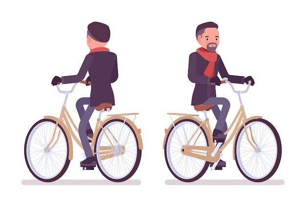 秋の服のイラストを身に着けているシティバイクに乗るスタイリッシュな中年男性 Premiumベクター
