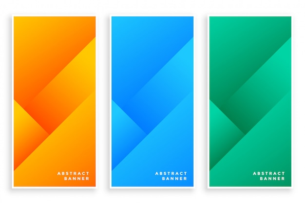 Stylish modern abstract banners set of three Free Vector