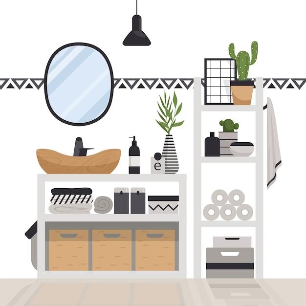 Стильная современная ванная комната в скандинавском стиле. минималистичный уютный интерьер с ящиками, зеркалом, полками, светильником и растениями. Premium векторы