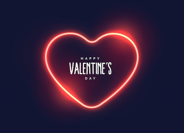 Stylish neon light heart for valentine's day Free Vector
