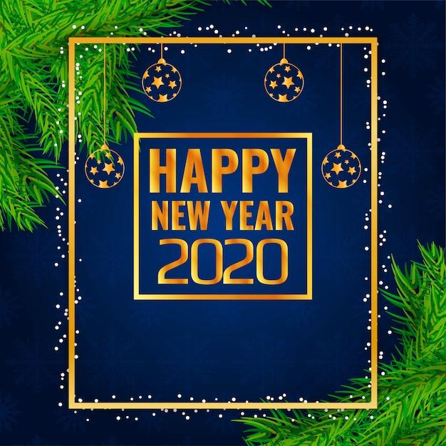 Stylish new year 2020 decorative frame Free Vector