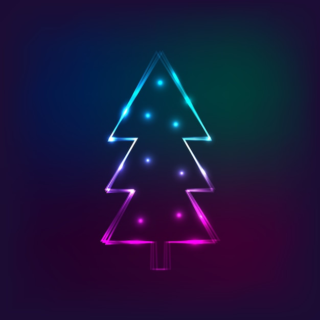 Stylish new year card with neon christmas tree Premium Vector