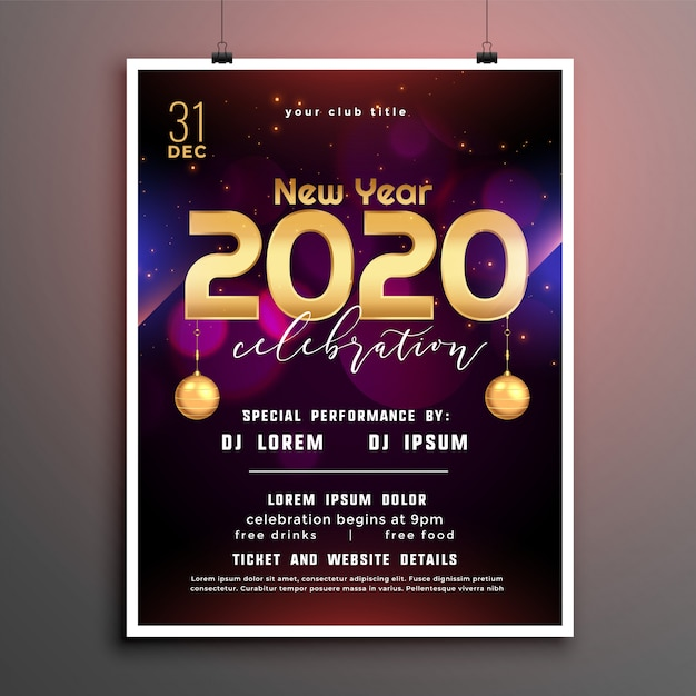 Stylish new year party flyer cover template design Free Vector
