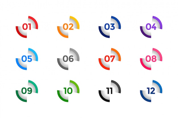 Stylish number buller points from one to twelve Free Vector