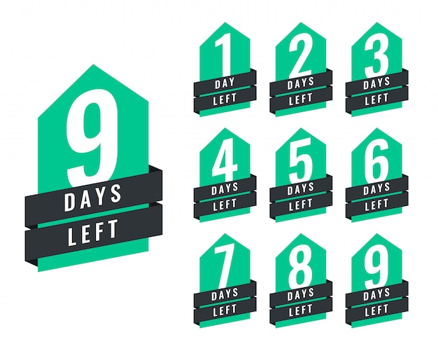 Stylish number of days left of sale and promotion Free Vector