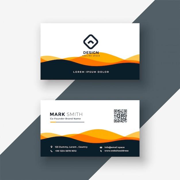 Stylish orange wavy shape business card design Free Vector