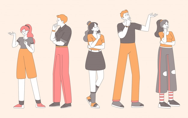 Stylish people in doubt flat illustration. pretty girls, guys making decision with uncertain facial expressions and gestures contour isolated characters. puzzled, pensive men and women thinking Premium Vector