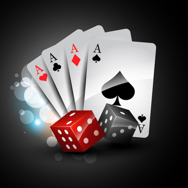 Stylish playing cards with dices Free Vector