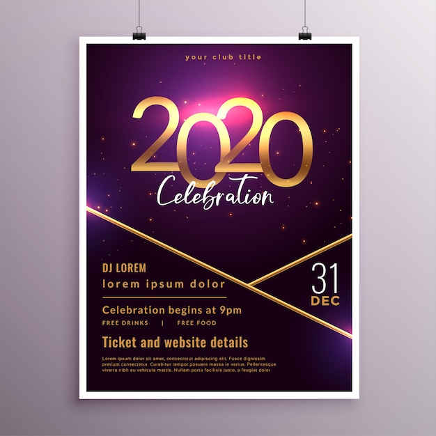 Stylish purple 2020 new year cover flyer template design Free Vector