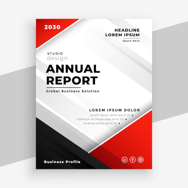 Stylish red annual report business flyer template Free Vector