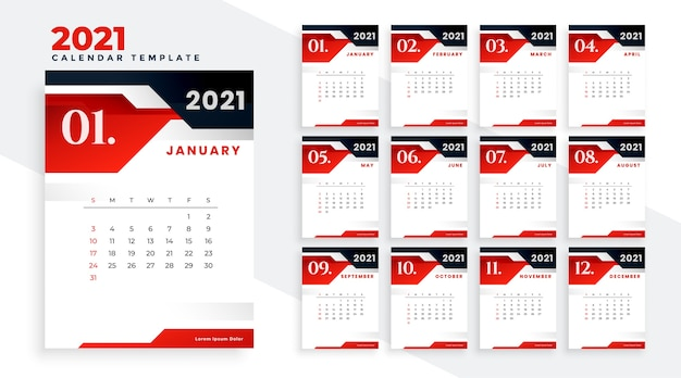 Stylish red black 2021 calendar design template Free Vector