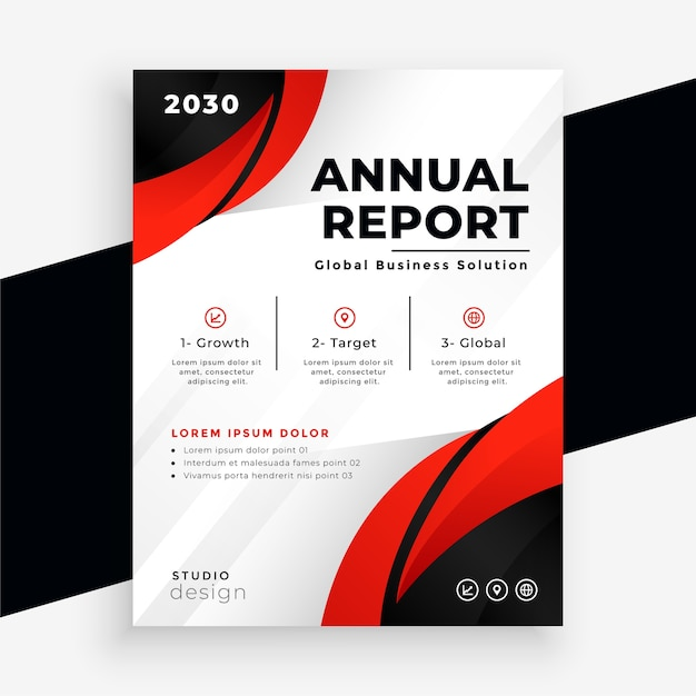 Stylish red business annual report brochure template design Free Vector