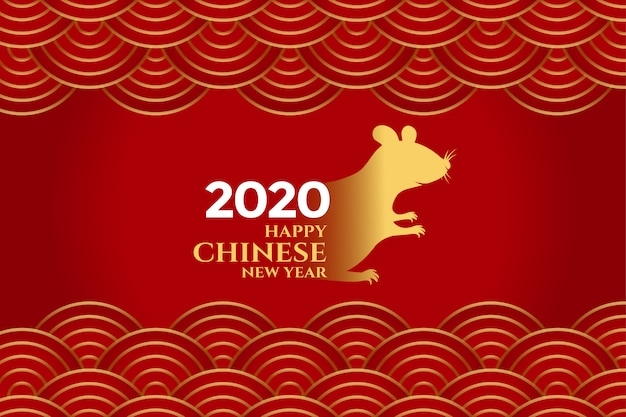 Stylish red chinese new year of rat background Free Vector