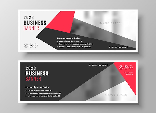 Stylish red geometric business banner design Free Vector