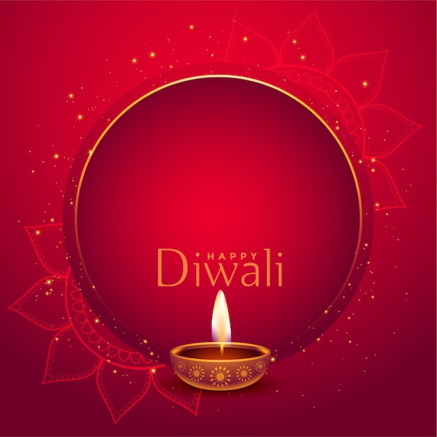 Stylish red happy diwali background with text space Free Vector