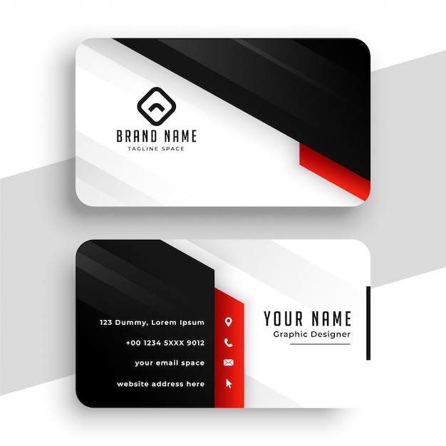 Stylish red theme business card template design Free Vector