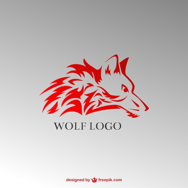 Stylish red wolf logo Free Vector