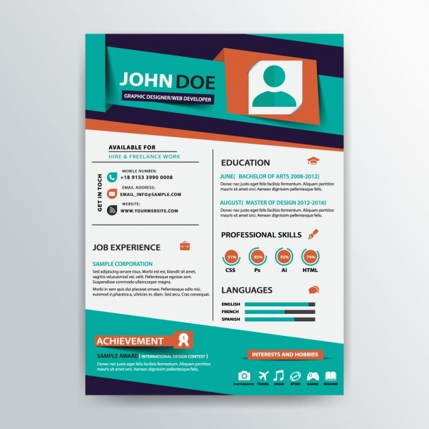 stylish resume template vector