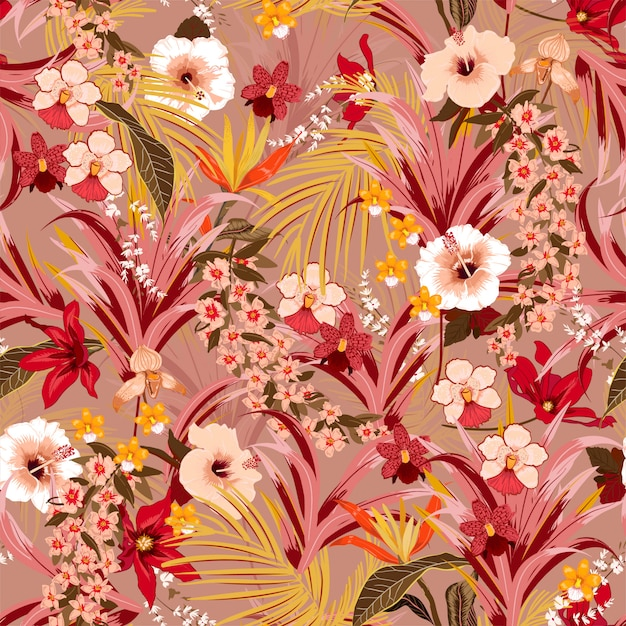 Stylish retro tropical background with jungle vector pattern Premium Vector
