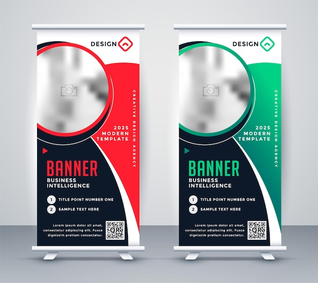 Stylish roll up business standee banner design Free Vector