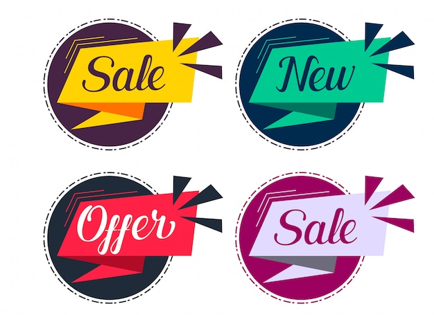 Stylish sale and offers labels set Free Vector