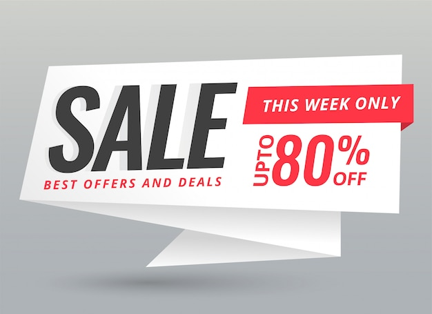 Stylish sale and offers origami chat bubble banner Free Vector