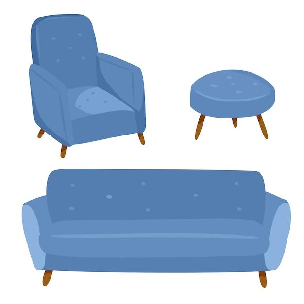Стильный скандинавский интерьер гостиной - диван и кресло. домашние украшения лагом. уютный сезон. современная удобная квартира, оформленная в стиле гигиены. векторная иллюстрация Premium векторы